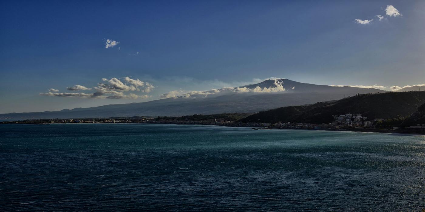 Giardini Naxos Bay and Etna panoramic view